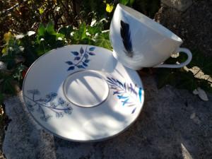 Paire Tasse Déjeuner XXL Feuillage bleu plume de canard et Geai