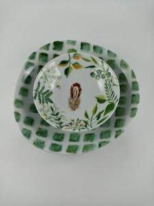 Coupelle Plume Assiette creuse Galet carré vert