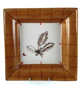 Vide poche carré 18 cm Feuilles de chêne  plaid brun et rouge