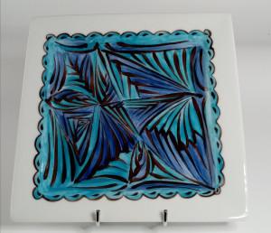 Petite assiette carrée Camaïeu bleu