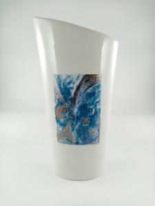 Vase 30 cm Camaïeu bleu et platine  Galaxie