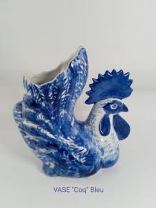 Vase coq bleu